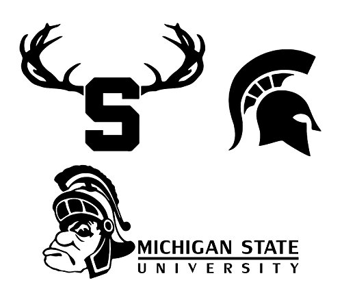This Michigan State University Auto Decal Pack is a High-Quality Vinyl Car Decal Displaying various MSU Spartans Logos. These decals are in WHITE so they can be seen clearer on your car.