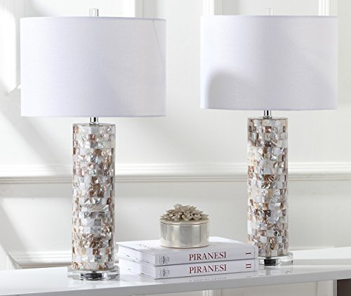 Safavieh Lighting Collection Boise Cream 28.9-Inch Table Lamp (Set of 2) (Mother Shade Of Pearl Lamp)