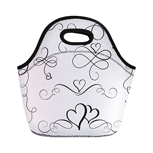 Tinmun Lunch Tote Bag Wedding of Flourish Vintage Hearts Corner Border Calligraphic Celebration Reusable Neoprene Bags Insulated Thermal Picnic Handbag for Women Men