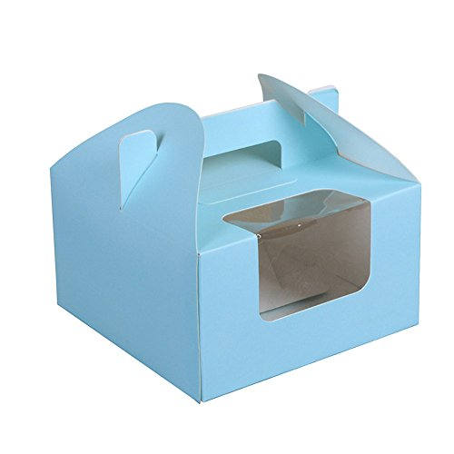 Cupcake Boxes 4 Cavity Holds with Window, Handle and Inserts Cardboard Cake Muffin Gift Holder Box 6.1