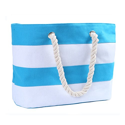 Inpluer Women's Travel Tote Beach Bag with Inner Zipper with Rope Handles(X-Large Light Blue)