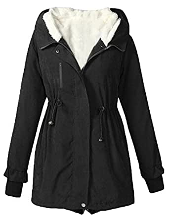 Womens Parka Jacket, Winter Faux Fur Lined Hooded Thicken