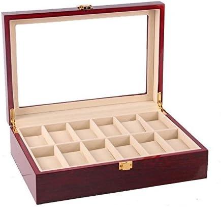 Imiee レッドウォールナット仕上げ腕時計ボックスコレクション ジュエリー木製ボックスストレージ ガラストップ 腕時計12個を収納