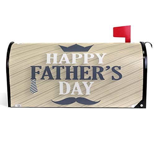 (Wamika Father's Day Decorations Mailbox Cover Tie Mustache Crown Mailbox Covers Magnetic Mailbox Wraps Post Letter Box Cover Garden Decor Standard Size 18