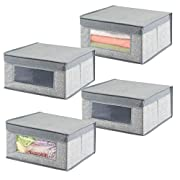 mDesign Soft Stackable Fabric Closet Storage Organizer Holder Bin with Clear Window, Attached Hinged Lid - for Bedroom, Hallway, Entryway, Bathroom - Textured Print - Medium, 4 Pack - Gray