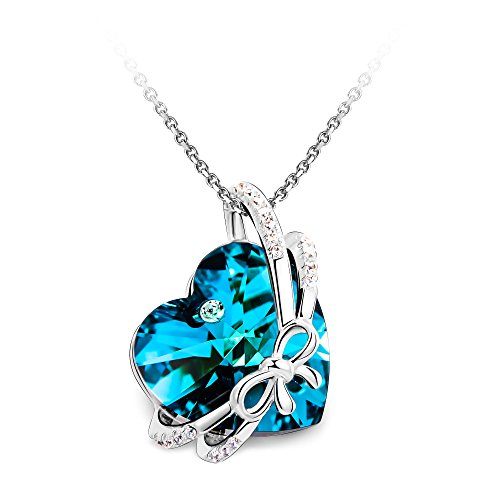 T400 Jewelers Bowtie Knot Heart Pendant Necklace Crystal (Blue)