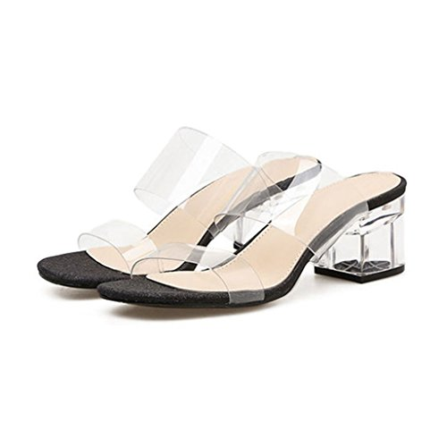 GIY Womens Low Block Heel Slide Sandals Lucite Clear Slip On Chunky Heels Sandal Slippers Black