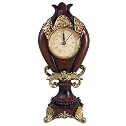 Decorative Wood Tone Standing Clock with Gold Painted Detail and Red Glass Beading