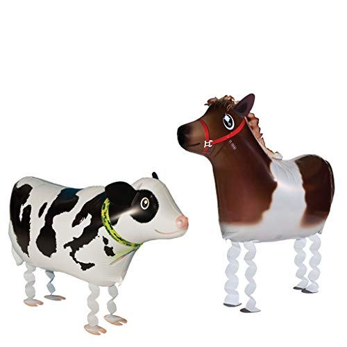 (VOULOIR Walking Animal Balloons Horse and Cow Balloon Air Walkers, Kids Farm Animal Theme Birthday Party Supplies Birthday Decorations)