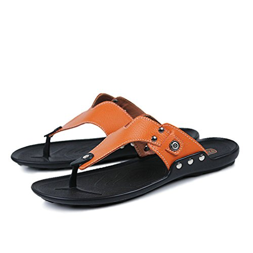 Men's slippers Leather Shoes Summer Deodorant Sandals Casual Men Beach Shoes Men Flip Flops Brown Orange 8.5 Boss Orange White Rubber