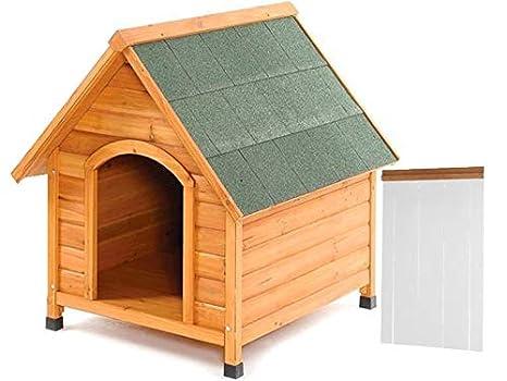 EUREKA24 caseta de Madera para Perro – con pies Regulables en Altura + Estor Térmica –