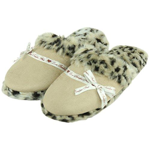 Forfoot Women Slippers Cozy Plush Fleece Slip On Indoor House Slippers Beige Leopard 2Mg7g