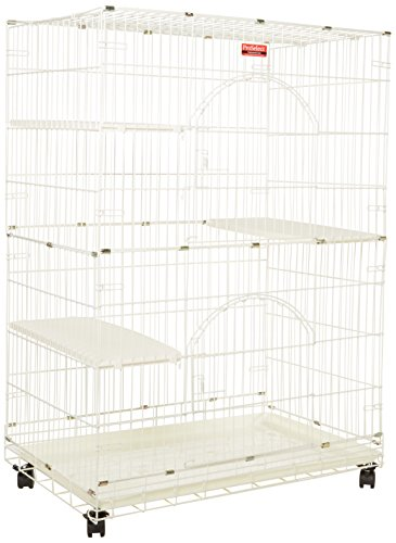 """ProSelect White Foldable Cat Cage - 8- and 12-Gauge Wire with Dimensions of 35.5"""" x 22.25"""" and 48"""" Height With Casters"""