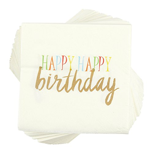 Birthday Party Cocktail Napkins - 100 Pack Rainbow