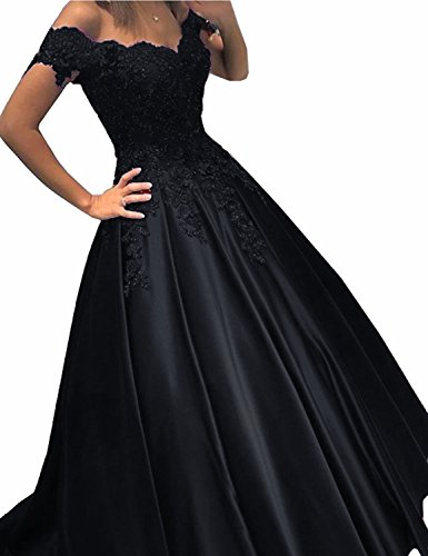 (Women's Cap Sleeves Prom Gown Beaded Lace A Line Evening Party Dress Black 10)
