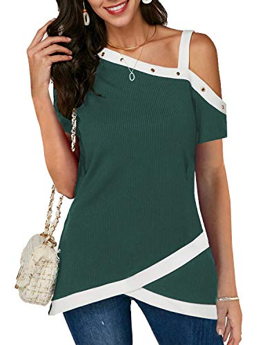 Eshavee Womens Short Sleeve Off The Shoulder Tops Oblique Collar Strap Rivet T-Shirts Casual Blouses Green