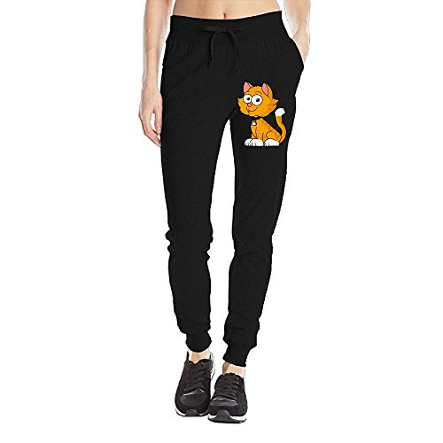 Losport Women's Smile Cat Cotton Joggers Pants Slim Fit Bottoms Running Trousers With Pockets L Black