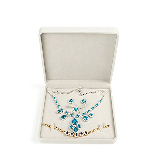 TIKIYOGI Jewelry Set Velvet Box Necklace Earring Ring Necklace Bracelet Gift Display Case Wedding Jewelry Storage Holder (Beige)