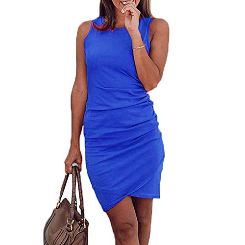 Dress Tulip Navy Hem - Women's Work Casual Sleeveless Ruched Dress Stretchy Fitted Bodycon Tulip Hem Tank Dress (L, Navy Blue)