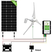 ECO-WORTHY 500W Wind Solar Power Kit: 400W Wind Turbine Generator+ 100W Monocrystalline Solar Panel for Off Grid 12 Volt Battery Charging