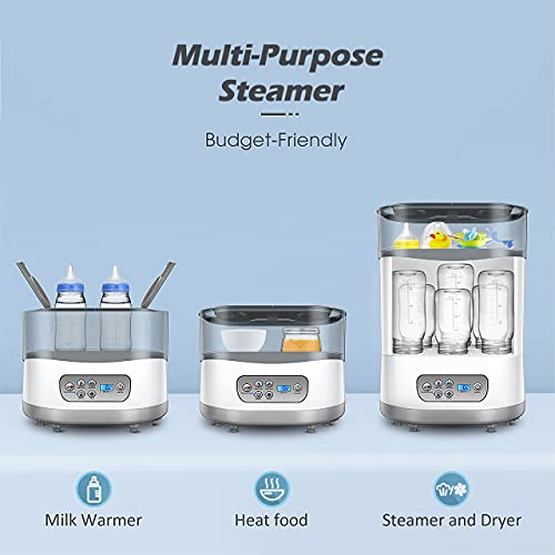Baby Bottle Warmer and Dryer 550W, Baby Milk Warmer, Electric Bottle Steamer with LCD Display, Auto Power-Off, 5-in-1 Multifunctional for Steaming, Drying, Warming Milk, Heating