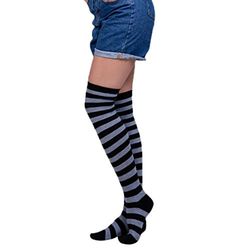Clearance! Napoo Women Stripe Rainbow Thigh High Over
