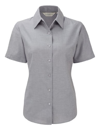 Russell Collection Womens Easycare Oxford Short Sleeve Shirt Silver L