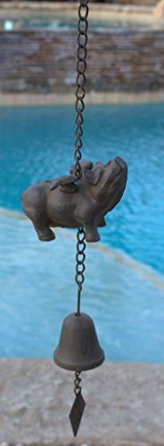 Large Cast Iron Flying Pig Bell Windchime
