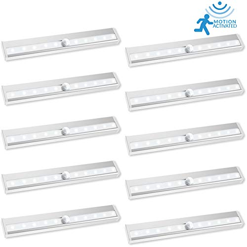 - Sunco Lighting 10 Pack Motion/Light Sensor Stick LED Light 2 Watt 6000K Kelvin Daylight (100LM) PIR Motion Activated Battery Powered, Under Cabinet Closet Night Light Bar, 3M Pads/Magnet Included