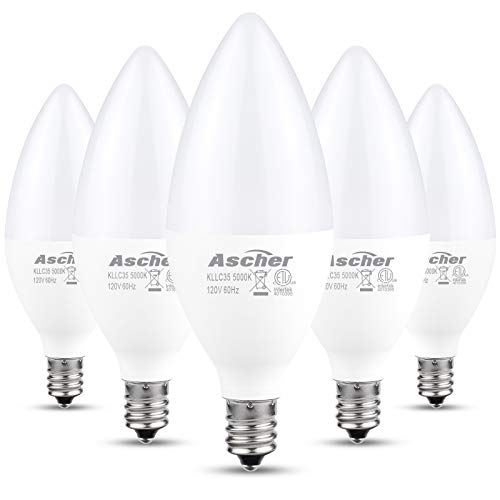 Ascher E12 LED Candelabra Light Bulbs, Equivalent 60W, 550 Lumens, Daylight White 5000K, Candelabra Base, Non-dimmable, Chandelier Bulb, Pack of 5