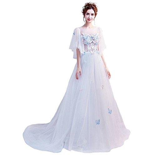 Banquet En 2 Robe Prom Robe Sweet Goddess 8 Appliques Blanc Papillon Parti Robe Train Sweep Romantique Dentelle Soirée De Sun nUTYWf6FW