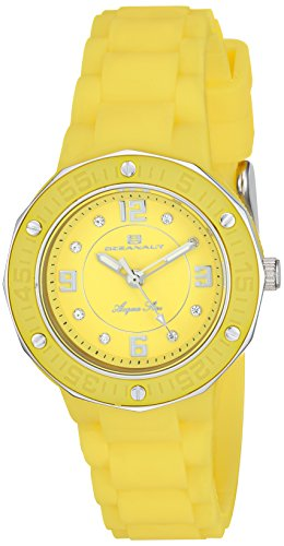 Oceanaut Women's 'Acqua Star' Quartz Stainless Steel and Silicone Casual Watch, Color:Yellow (Model: OC0437)