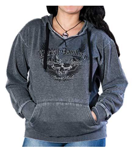 Harley-Davidson Women's Pursuit Skull Burnout Pullover Hoodie, Graphite (M)