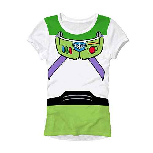 Disney Pixar Buzz Lightyear Costume Juniors T-Shirt ... (Medium, White) -