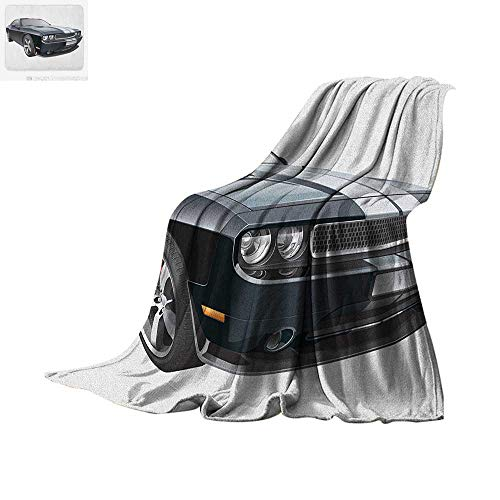 Cars Super Soft Lightweight Blanket Black Modern Pony Car with White Racing Stripes Coupe Sports Dragster Print Custom Design Cozy Flannel Blanket 60