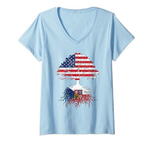 - Womens Czech American Roots Shirt Gift Czech Republic USA Flag V-Neck T-Shirt