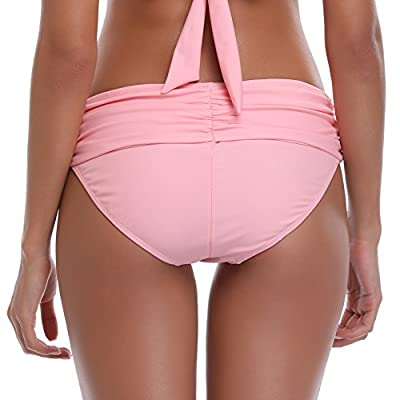 SHEKINI Women's Swimsuit Hipster Bikini Bottoms Full Coverage Ruched High Waisted Swim Bottoms: Clothing