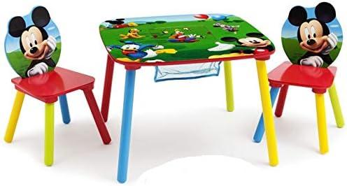 Mobiliario de Disney Mickey Mouse mesa + 2 sillas muebles para niños dibujar red almacenamiento, nuevo: Amazon.es: Hogar