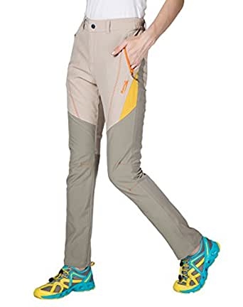 Makino Women's Relaxed Fit Pants Quick Dry Straight Leg Casual Pant 3036-2 Light Khakii/Gray KhakiL