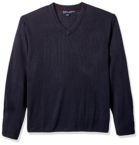 U.S. Polo Assn. Men's Tall Solid V-Neck Sweater, Navy, 3X Big (Big And Tall Mens Clothing V Neck)