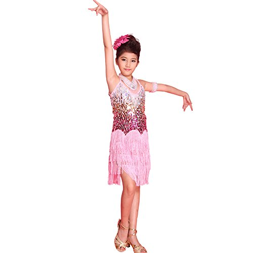 YESIDO Toddler & Baby Girls One-piece Rhinestone Sparkle Latin Dancewear Tassel Decor Leotard Dance Dress Pink B/M - Praise Dance Costume Patterns