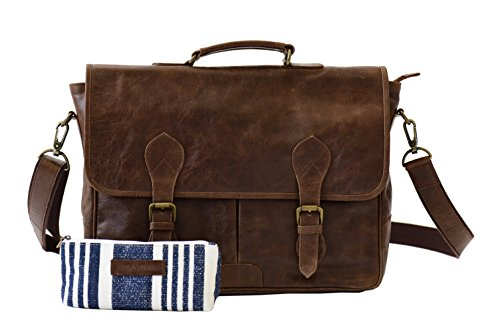 The Aartisan 16.5'' Vintage Pocketed Genuine Leather Messenger Laptop Briefcase (Brompton Cocoa) Shoulder Canvas Leather Satchel Bag Free Gift Included Multi Purpose Use by THE AARTISAN