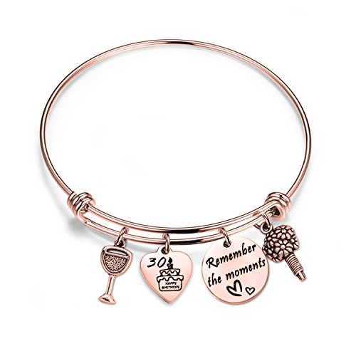 - bobauna Birthday Gift for Sweet 16 18th 21st 30th Rose Gold Stainless Steel Expandable Wire Bangle Bracelet (30th bracelet RG)