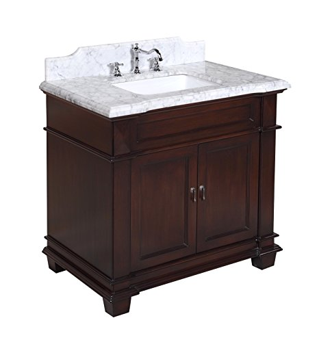Kitchen Bath Collection KBC5936BRCARR Elizabeth Bathroom Vanity with Marble Countertop, Cabinet with Soft Close Function and Undermount Ceramic Sink, Carrara/Chocolate, ()