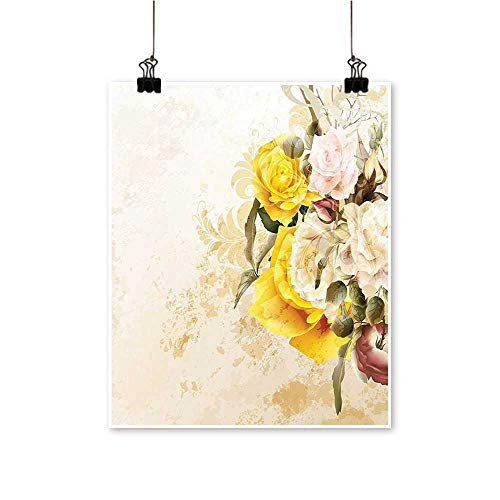 On Canvas Prints Flourishing Rose Petals Botany Shabby h Yellow Olive Green Pink Paintings for Wall Decor,28
