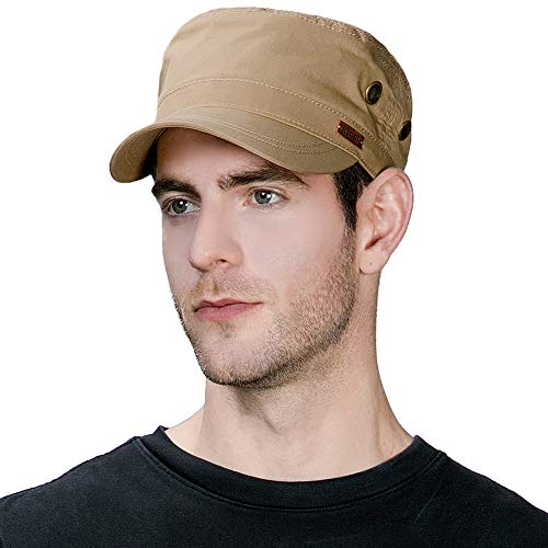 (Unisex Mens Cotton Army Caps Military Hats Baseball Sun Hat Trucker Cadet Combat Cap for Men 56-60CM Camel)