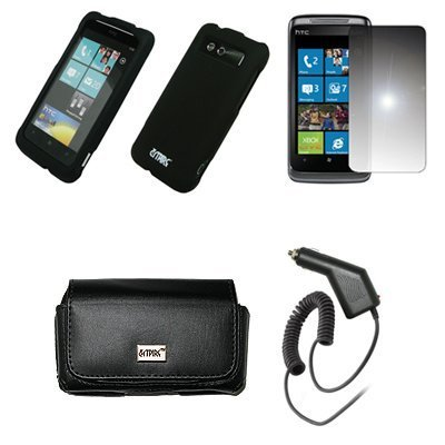 Laentina EMPIRE Black Leather Case Pouch with Belt Clip and Belt Loops + Black Rubberized Snap-On Cover Case + Mirror Screen...