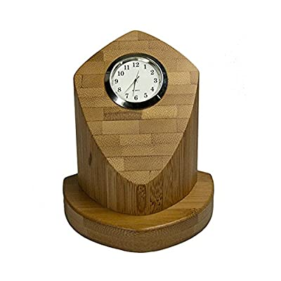 "Ecofriendly Bamboo Desk Clock - Eco Clock made of Bamboo! Beautiful Desk Accessory 4-1/8"" H x 3-3/4"" W x 3-3/4"" D - clocks, bedroom-decor, bedroom - 41VJsF%2BbBqL. SS400  -"