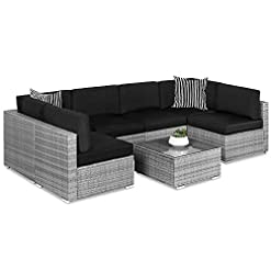Garden and Outdoor Best Choice Products 7-Piece Modular Outdoor Sectional Wicker Patio Furniture Conversation Set w/ 6 Chairs, 2 Pillows…