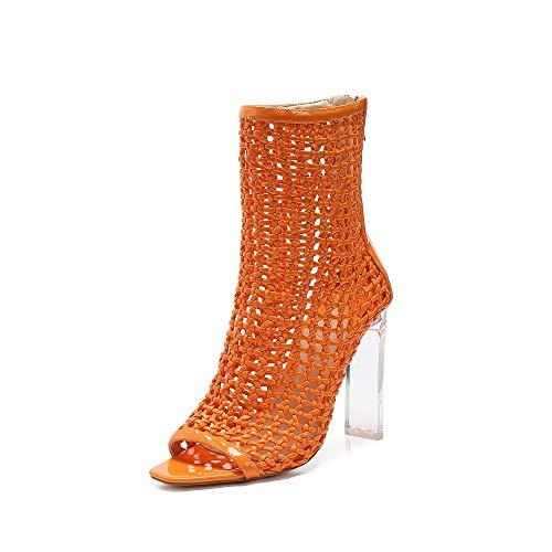 MACKIN J Sandals 332-2 Hand-Woven High Heel Women Sandals Lucite Heel Dress Sandals Peep Toe Ankle Booties (6, Orange)